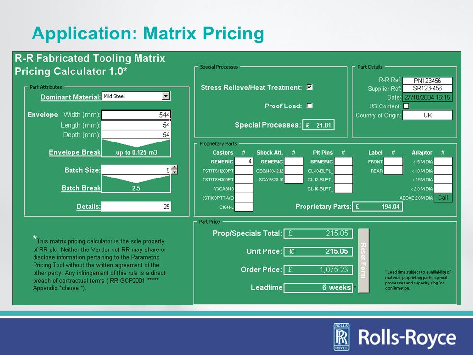 Application: Matrix Pricing
