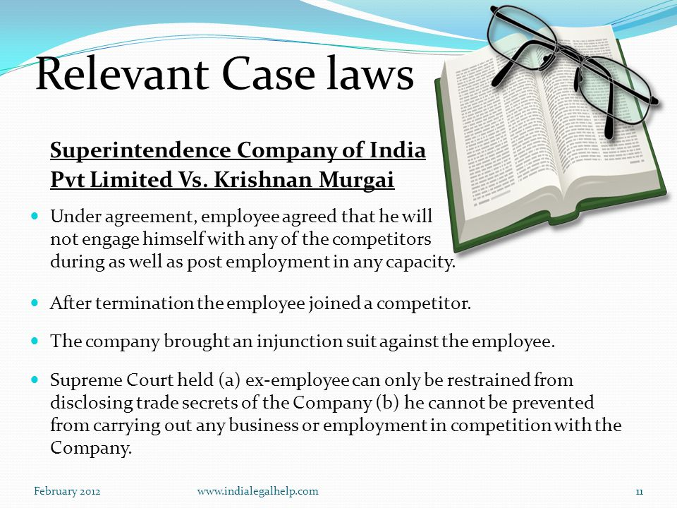 February 2012www.indialegalhelp.com11 Relevant Case laws Superintendence Company of India Pvt Limited Vs.