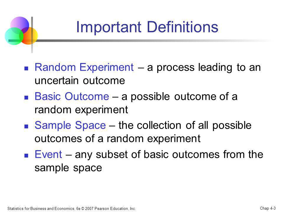 Statistics for Business and Economics, 6e © 2007 Pearson Education, Inc. Chap 4-3 Important Definitions Random Experiment – a process leading to an un