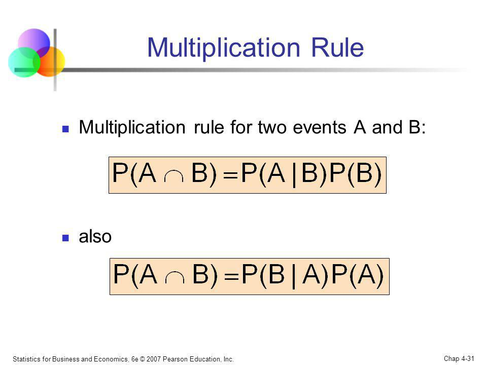 Statistics for Business and Economics, 6e © 2007 Pearson Education, Inc. Chap 4-31 Multiplication Rule Multiplication rule for two events A and B: als