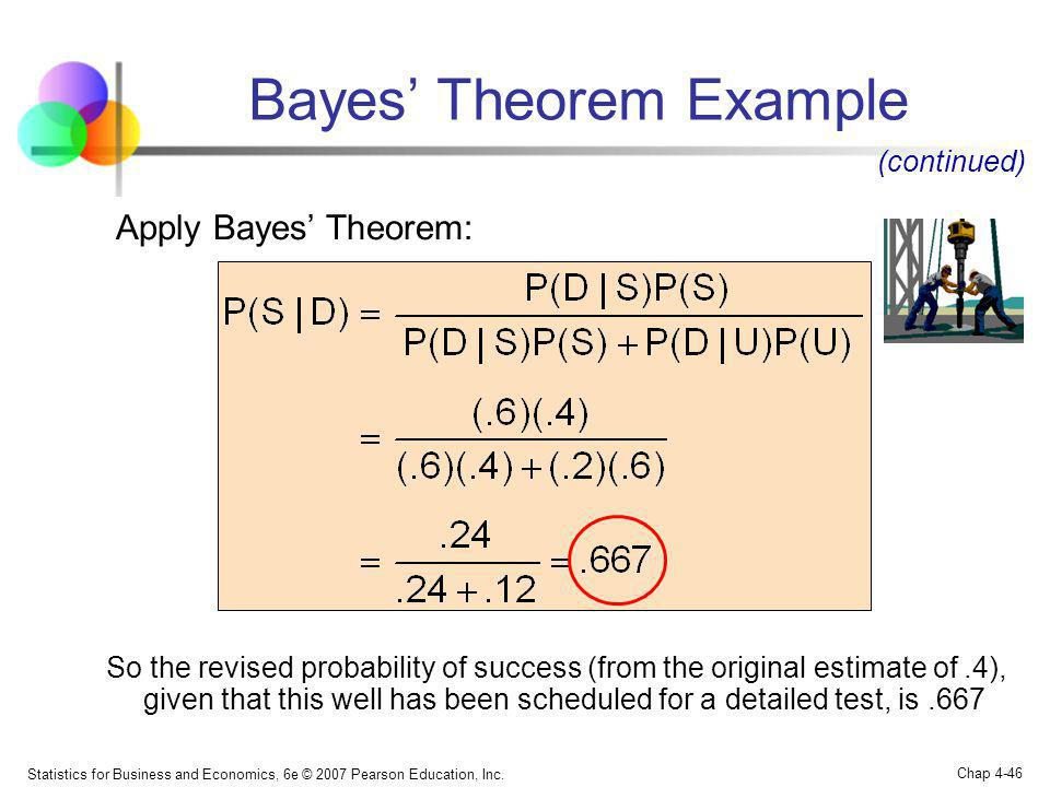 Statistics for Business and Economics, 6e © 2007 Pearson Education, Inc. Chap 4-46 Bayes Theorem Example (continued) Apply Bayes Theorem: So the revis