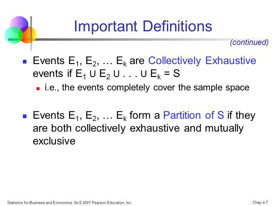 Statistics for Business and Economics, 6e © 2007 Pearson Education, Inc. Chap 4-7 Important Definitions Events E 1, E 2, … E k are Collectively Exhaus