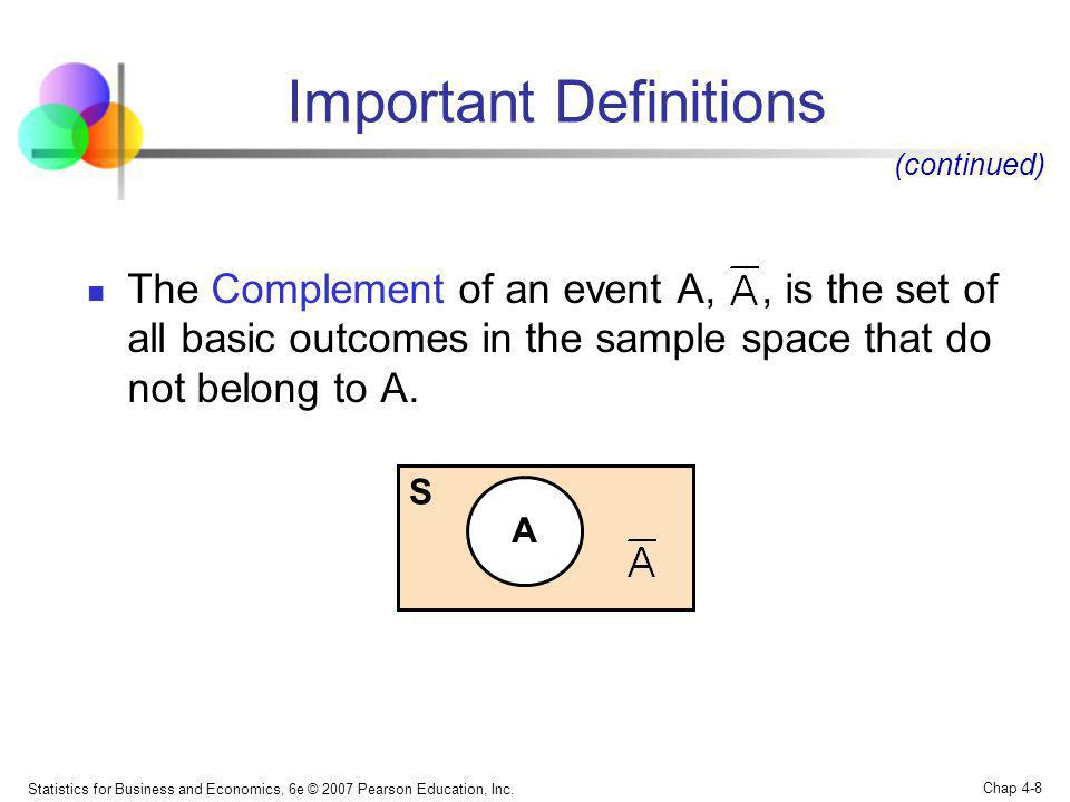 Statistics for Business and Economics, 6e © 2007 Pearson Education, Inc. Chap 4-8 Important Definitions The Complement of an event A,, is the set of a