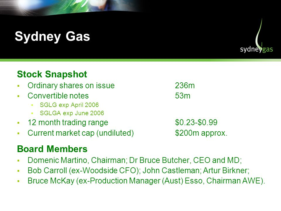 Sydney Gas Stock Snapshot Ordinary shares on issue236m Convertible notes53m SGLG exp April 2006 SGLGA exp June month trading range$0.23-$0.99 Current market cap (undiluted)$200m approx.