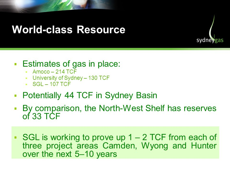World-class Resource Estimates of gas in place: Amoco – 214 TCF University of Sydney – 130 TCF SGL – 107 TCF Potentially 44 TCF in Sydney Basin By comparison, the North-West Shelf has reserves of 33 TCF SGL is working to prove up 1 – 2 TCF from each of three project areas Camden, Wyong and Hunter over the next 5–10 years
