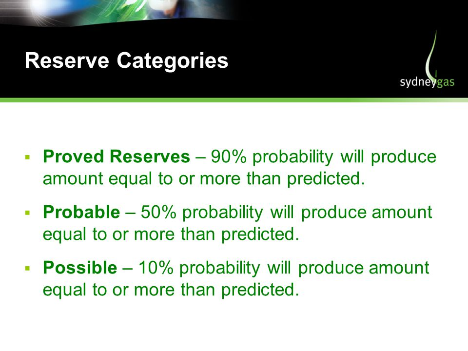 Reserve Categories Proved Reserves – 90% probability will produce amount equal to or more than predicted.