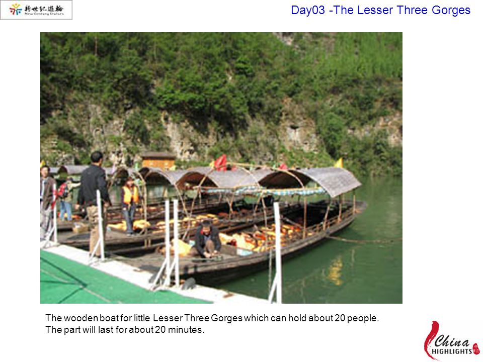 The wooden boat for little Lesser Three Gorges which can hold about 20 people.