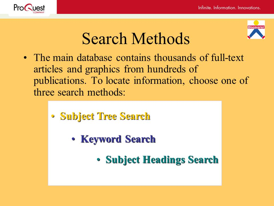 Search Methods The main database contains thousands of full-text articles and graphics from hundreds of publications.
