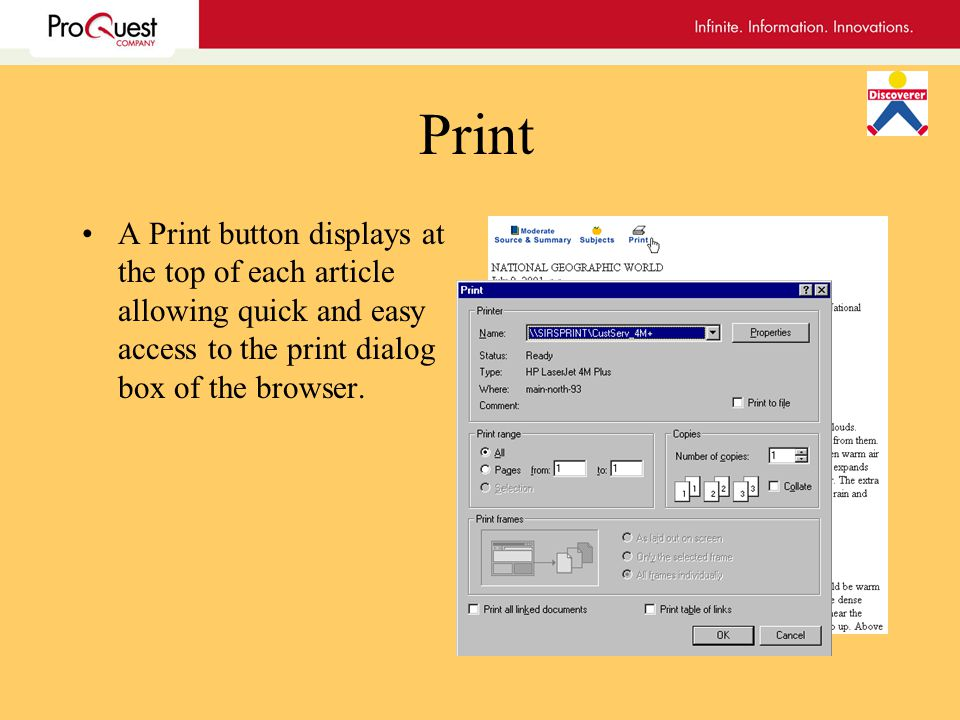 Print A Print button displays at the top of each article allowing quick and easy access to the print dialog box of the browser.