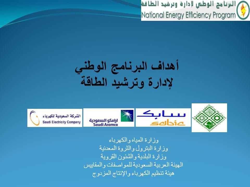 وزارة المياه والكهرباء وزارة البترول والثروة المعدنية وزارة البلدية والشئون القروية الهيئة العربية السعودية للمواصفات والمقاييس هيئة تنظيم الكهرباء وا