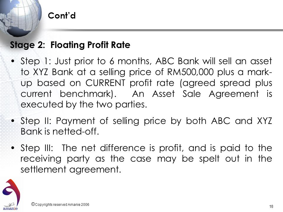 © Copyrights reserved Amanie 2006 18 Contd Stage 2: Floating Profit Rate Step 1: Just prior to 6 months, ABC Bank will sell an asset to XYZ Bank at a