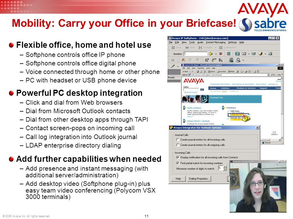 11 © 2006 Avaya Inc. All rights reserved. Mobility: Carry your Office in your Briefcase.