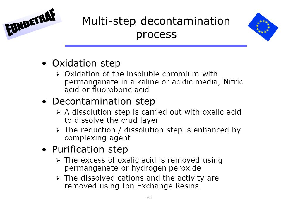 20 Multi-step decontamination process Oxidation step Oxidation of the insoluble chromium with permanganate in alkaline or acidic media, Nitric acid or