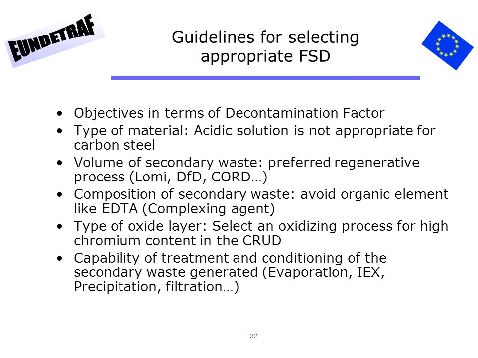 32 Guidelines for selecting appropriate FSD Objectives in terms of Decontamination Factor Type of material: Acidic solution is not appropriate for car