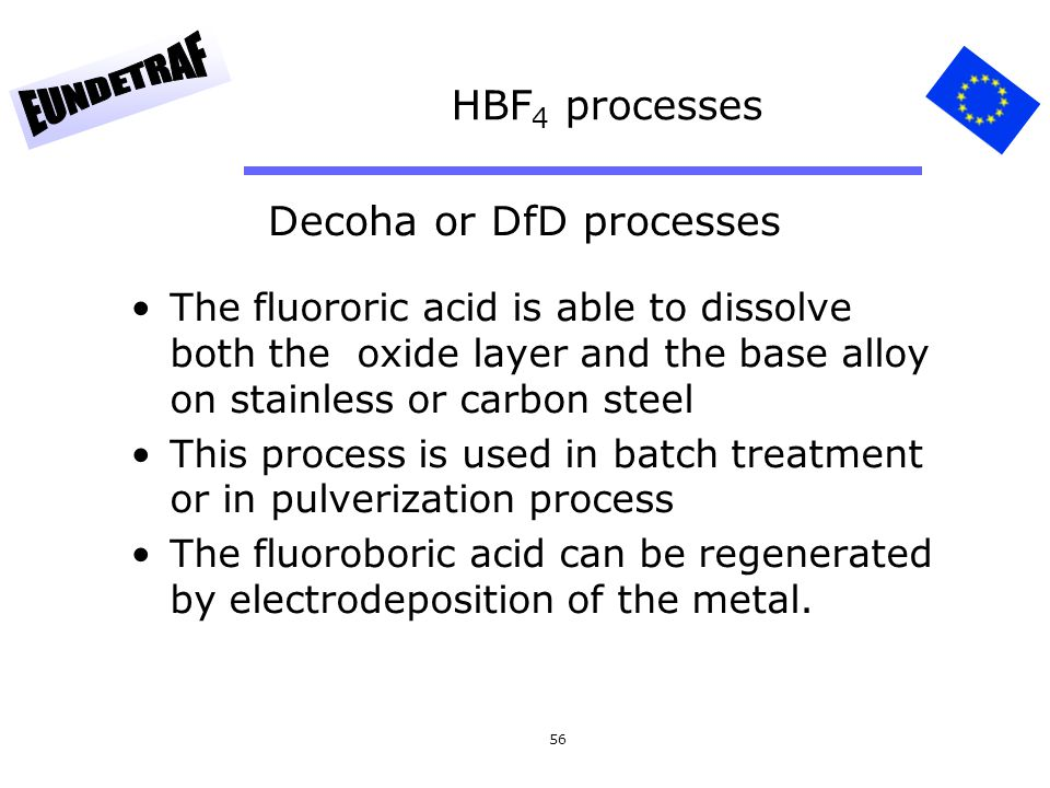 56 HBF 4 processes The fluororic acid is able to dissolve both the oxide layer and the base alloy on stainless or carbon steel This process is used in