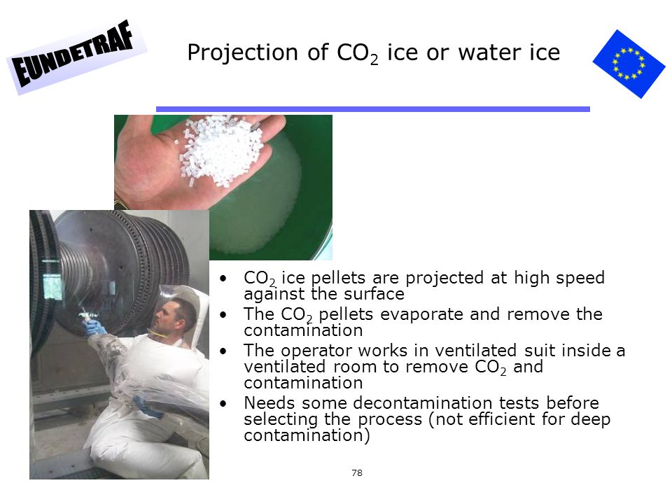 78 Projection of CO 2 ice or water ice CO 2 ice pellets are projected at high speed against the surface The CO 2 pellets evaporate and remove the cont