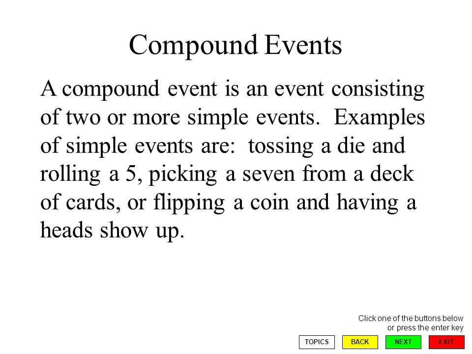 EXIT NEXT Click one of the buttons below or press the enter key BACKTOPICS Compound Events A compound event is an event consisting of two or more simple events.