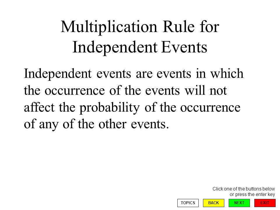 EXIT NEXT Click one of the buttons below or press the enter key BACKTOPICS Multiplication Rule for Independent Events Independent events are events in which the occurrence of the events will not affect the probability of the occurrence of any of the other events.
