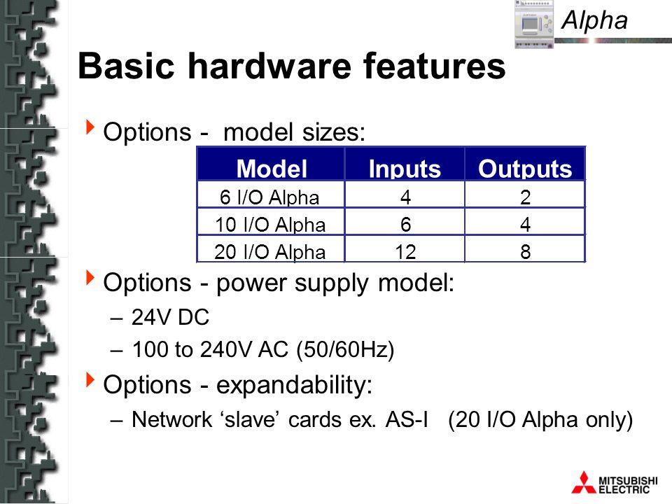 Alpha Inputs Outputs ModelInputsOutputs 6 I/O Alpha42 10 I/O Alpha64 20 I/O Alpha128 Basic hardware features Options - model sizes: Options - power supply model: –24V DC –100 to 240V AC (50/60Hz) Options - expandability: –Network slave cards ex.