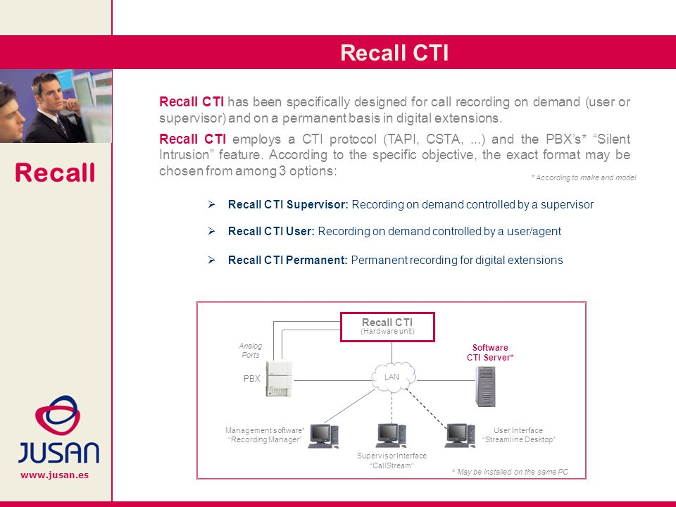 Recall www.jusan.es Recall CTI Supervisor (CallStream Interface): Each supervisor is able to start and to stop the recording of any call, simply by selecting the relevant extension and clicking the on-screen options.
