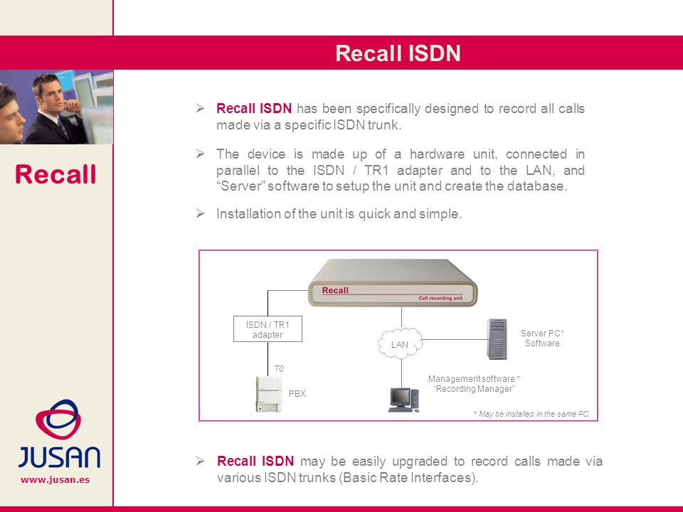 Recall www.jusan.es Recall ISDN has been specifically designed to record all calls made via a specific ISDN trunk.