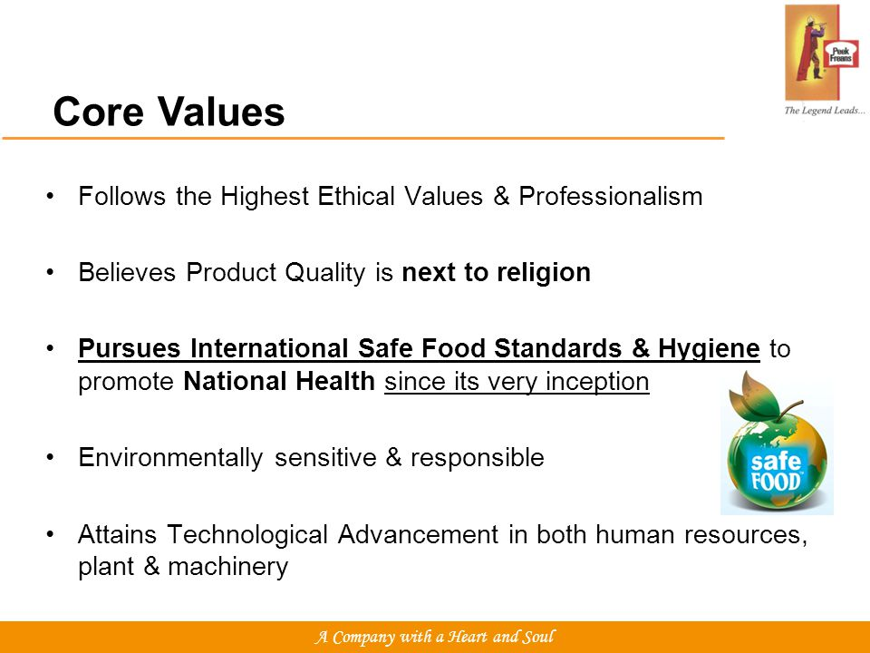 Core Values Follows the Highest Ethical Values & Professionalism Believes Product Quality is next to religion Pursues International Safe Food Standards & Hygiene to promote National Health since its very inception Environmentally sensitive & responsible Attains Technological Advancement in both human resources, plant & machinery A Company with a Heart and Soul