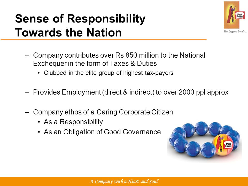 –Company contributes over Rs 850 million to the National Exchequer in the form of Taxes & Duties Clubbed in the elite group of highest tax-payers –Provides Employment (direct & indirect) to over 2000 ppl approx –Company ethos of a Caring Corporate Citizen As a Responsibility As an Obligation of Good Governance Sense of Responsibility Towards the Nation A Company with a Heart and Soul