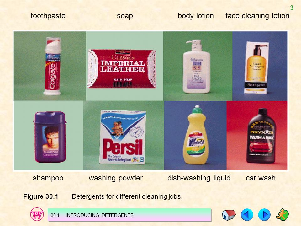 3 toothpaste shampoo soapbody lotionface cleaning lotion washing powderdish-washing liquidcar wash Figure 30.1 Detergents for different cleaning jobs.