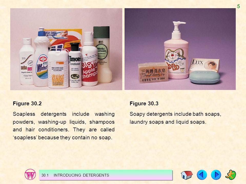 5 Figure 30.2 Soapless detergents include washing powders, washing-up liquids, shampoos and hair conditioners. They are called soapless because they c