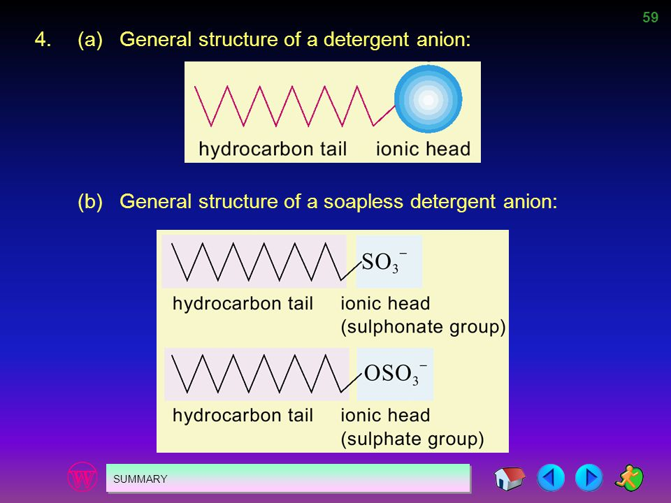 59 SUMMARY 4.(a)General structure of a detergent anion: (b)General structure of a soapless detergent anion: