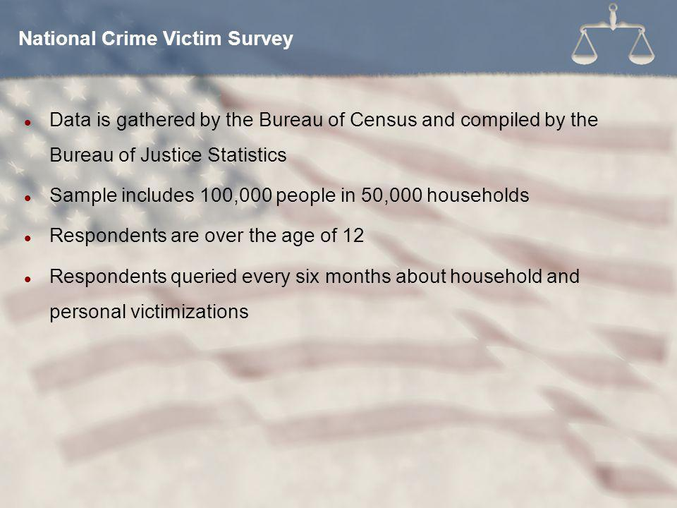 Data is gathered by the Bureau of Census and compiled by the Bureau of Justice Statistics Sample includes 100,000 people in 50,000 households Respondents are over the age of 12 Respondents queried every six months about household and personal victimizations National Crime Victim Survey