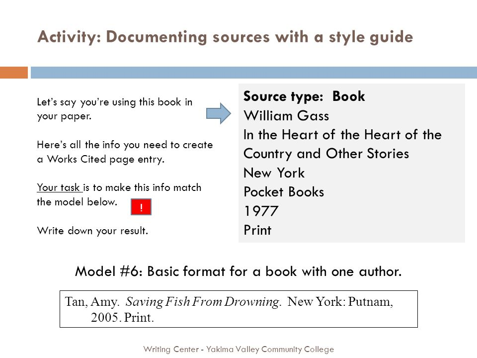 Activity: Documenting sources with a style guide Writing Center - Yakima Valley Community College Source type: Book William Gass In the Heart of the Heart of the Country and Other Stories New York Pocket Books 1977 Print Tan, Amy.
