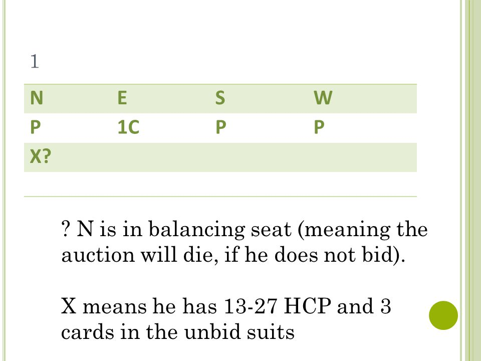 1 NESW P1CPP X. N is in balancing seat (meaning the auction will die, if he does not bid).