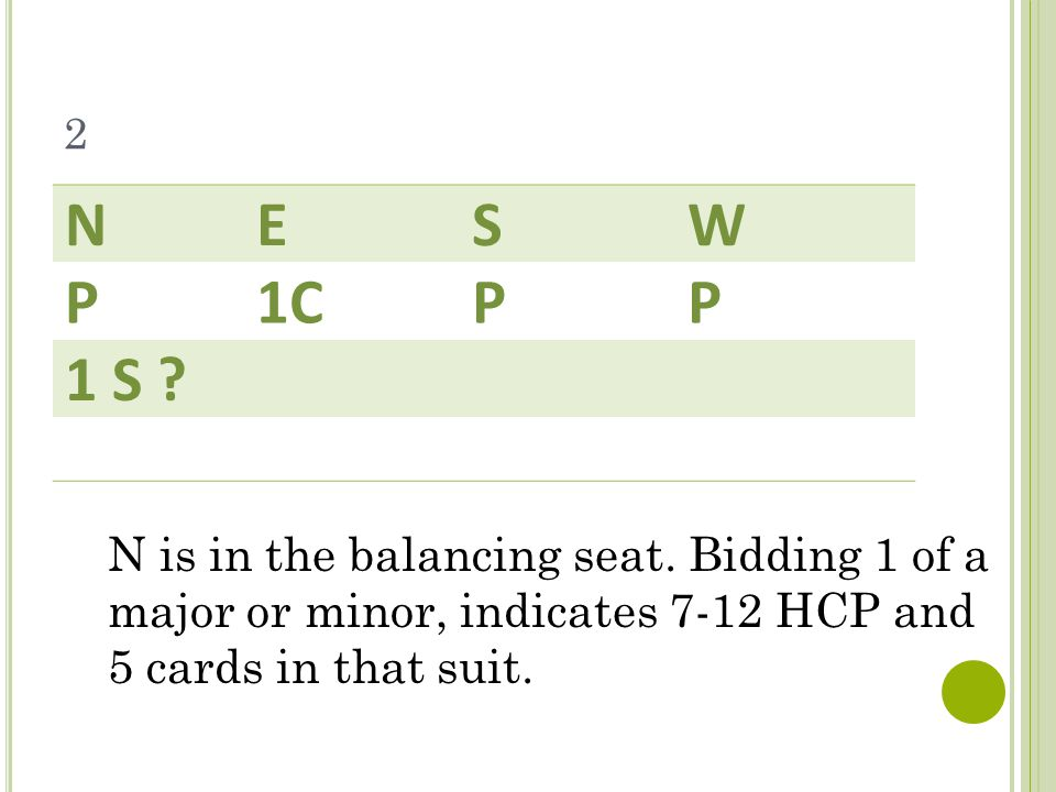 2 NESW P1CPP 1 S .N is in the balancing seat.