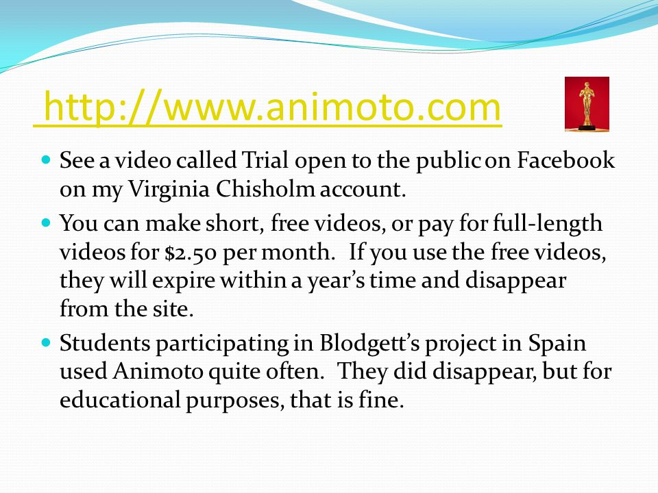 http://www.animoto.com See a video called Trial open to the public on Facebook on my Virginia Chisholm account.