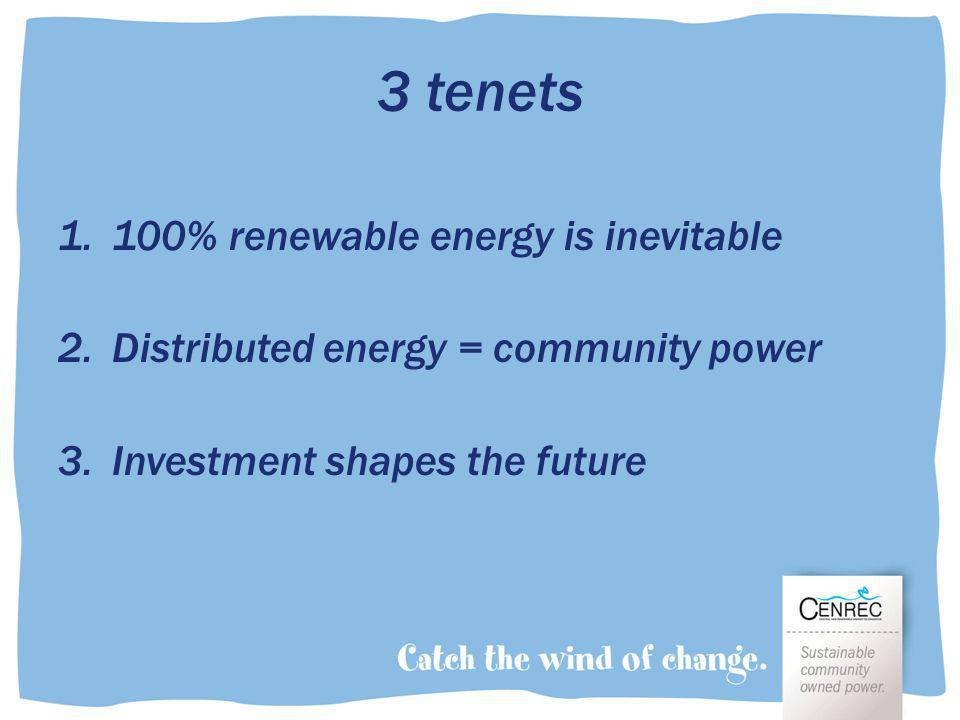 3 tenets 1.100% renewable energy is inevitable 2.Distributed energy = community power 3.Investment shapes the future