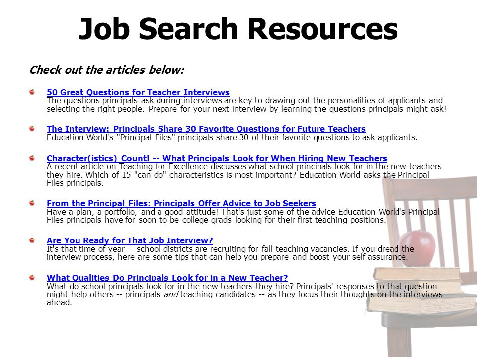 Job Search Resources Check out the articles below: 50 Great Questions for Teacher Interviews 50 Great Questions for Teacher Interviews The questions p