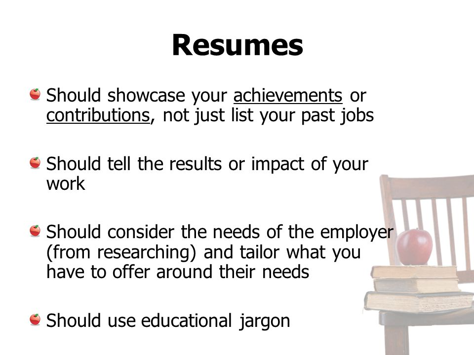 References List Should match font and overall look of Résumé 3 people is enough Only those who can attest to your strengths as a Teacher.