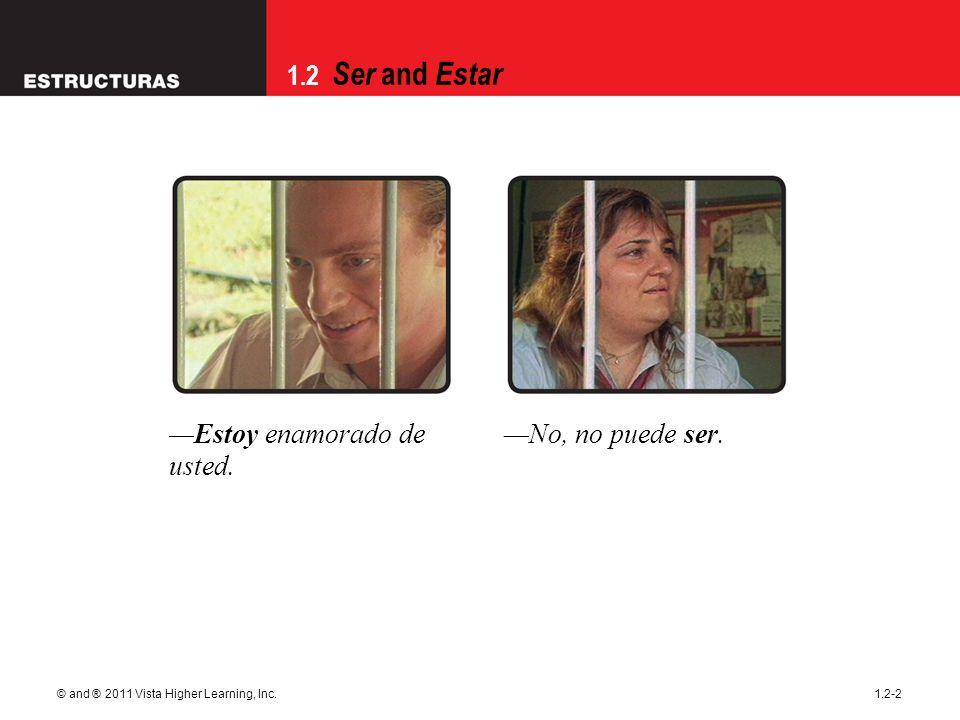 1.2 Ser and Estar © and ® 2011 Vista Higher Learning, Inc.1.2-2 Estoy enamorado de usted.