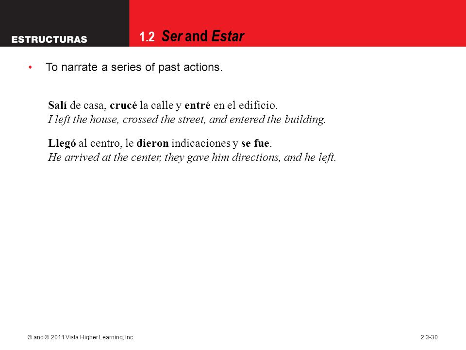 1.2 Ser and Estar © and ® 2011 Vista Higher Learning, Inc.2.3-30 To narrate a series of past actions.