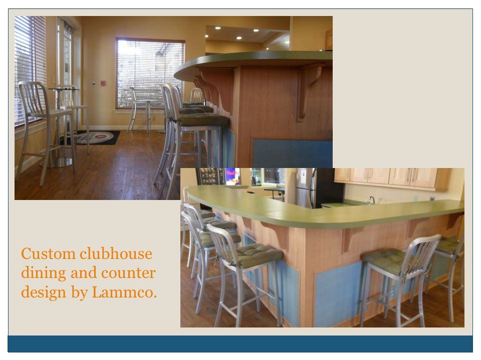 Custom clubhouse dining and counter design by Lammco.
