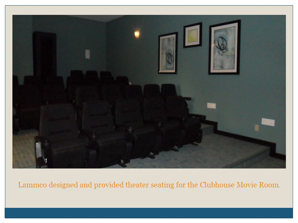 Lammco designed and provided theater seating for the Clubhouse Movie Room.