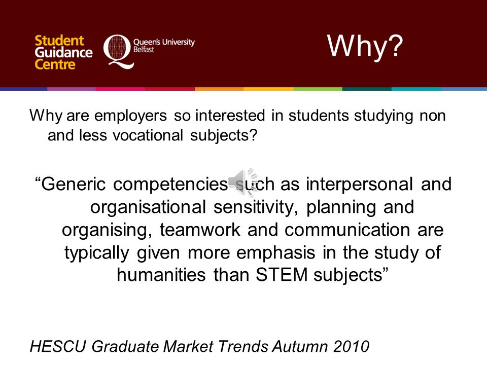 Why.Why are employers so interested in students studying non and less vocational subjects.