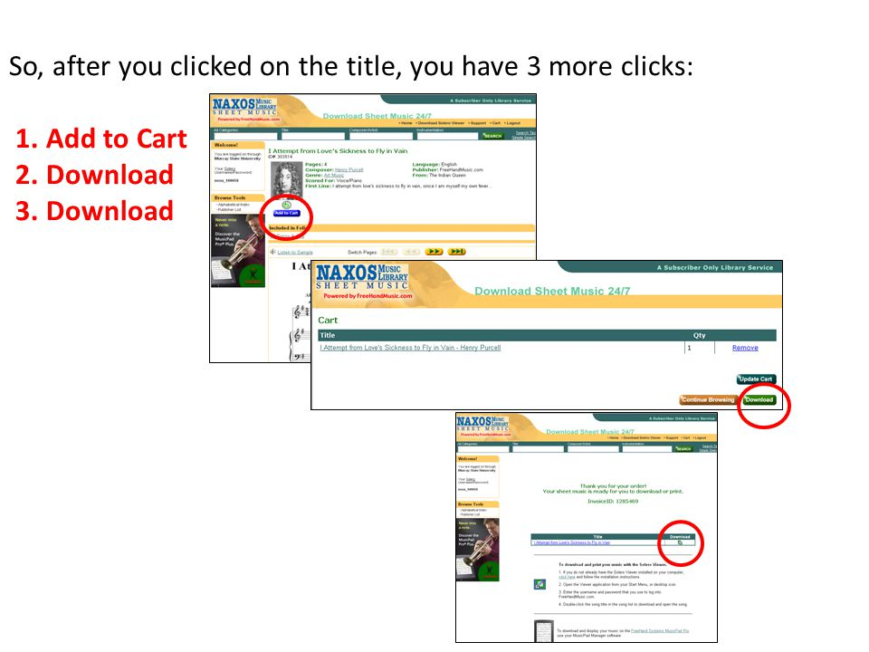So, after you clicked on the title, you have 3 more clicks: 1. Add to Cart 2. Download 3. Download