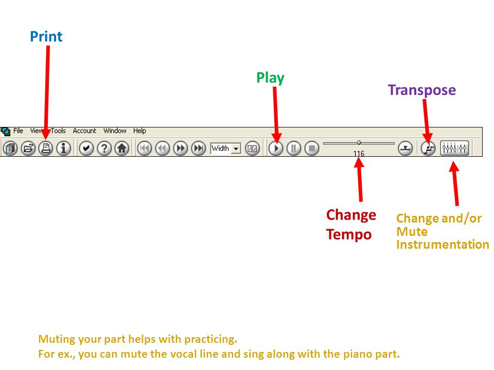 Print Play Change Tempo Transpose Change and/or Mute Instrumentation Muting your part helps with practicing.