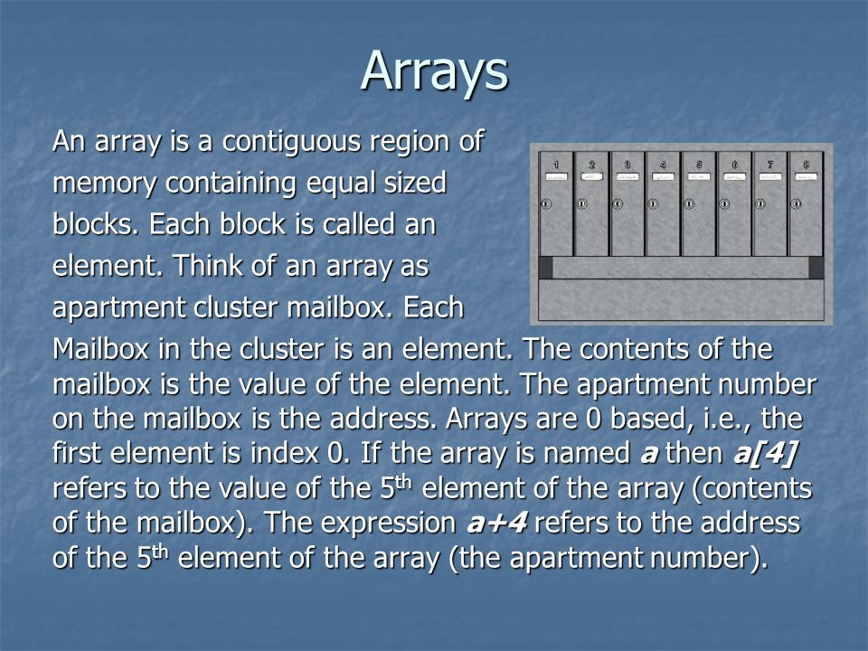An array is a contiguous region of memory containing equal sized blocks.