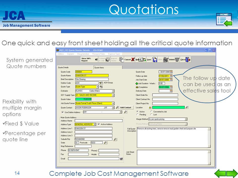 JCA Job Management Software 14 Complete Job Cost Management Software One quick and easy front sheet holding all the critical quote information System
