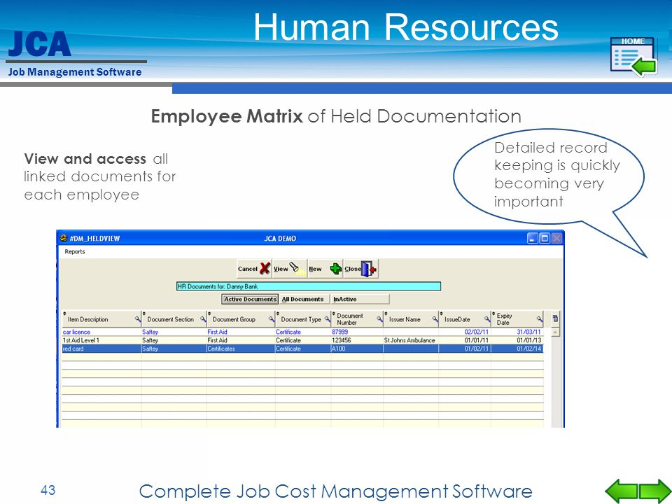 JCA Job Management Software 43 Complete Job Cost Management Software Employee Matrix of Held Documentation View and access all linked documents for ea