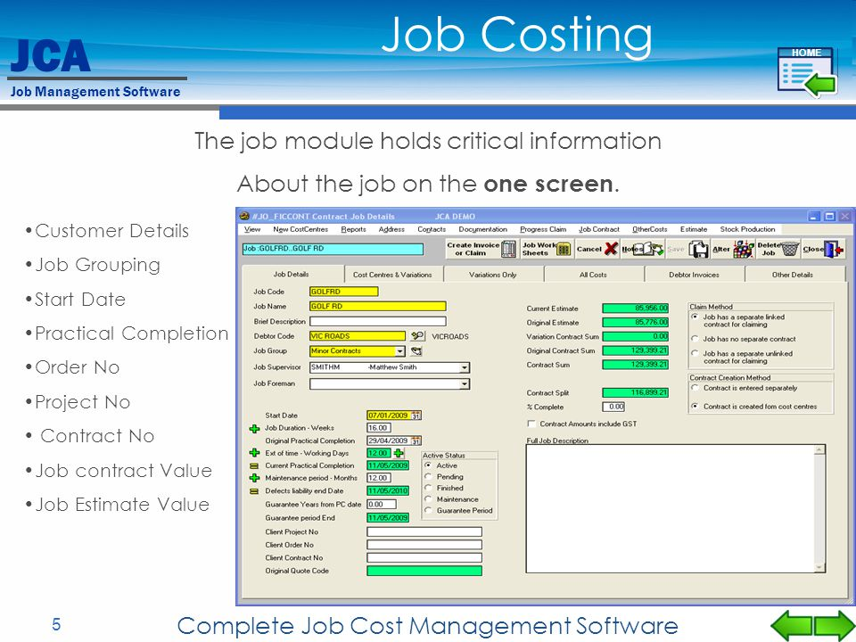 JCA Job Management Software 5 Complete Job Cost Management Software Customer Details Job Grouping Start Date Practical Completion Order No Project No