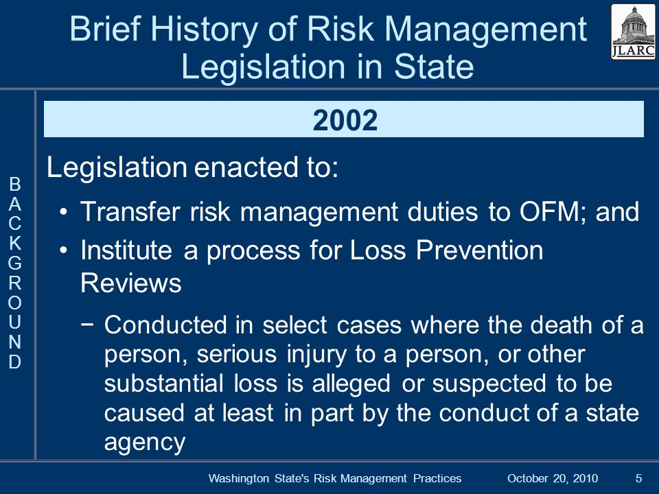 October 20, 2010Washington State s Risk Management Practices5 Brief History of Risk Management Legislation in State 2002 Legislation enacted to: Transfer risk management duties to OFM; and Institute a process for Loss Prevention Reviews Conducted in select cases where the death of a person, serious injury to a person, or other substantial loss is alleged or suspected to be caused at least in part by the conduct of a state agency BACKGROUNDBACKGROUND